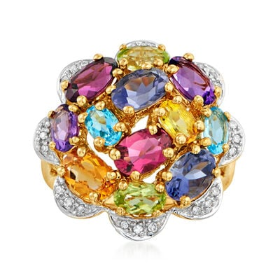 C. 1990 Vintage 3.43 ct. t.w. Multi-Gemstone and .12 ct. t.w. Diamond Cluster Ring in 14kt Yellow Gold