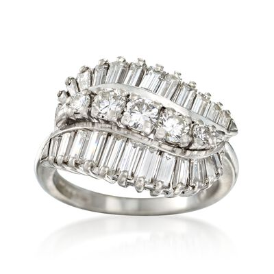 C. 1990 Vintage 1.80 ct. t.w. Baguette and Round Diamond Ring in Platinum, , default