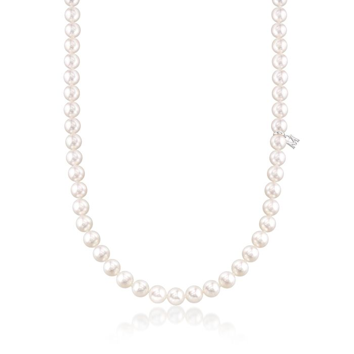 "Mikimoto 6.5-7mm 'A' Akoya Pearl Necklace With 18-Karat White Gold. 18"", , default"