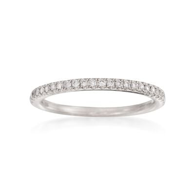 Henri Daussi .15 ct. t.w. Pave Diamond Wedding Ring in 18kt White Gold