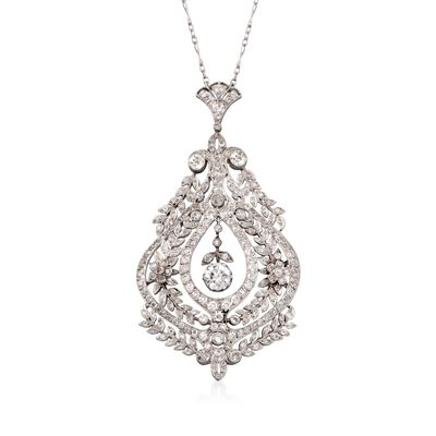 C. 1960 Vintage 6.5 ct. t.w. Diamond Pendant Necklace in Platinum, , default