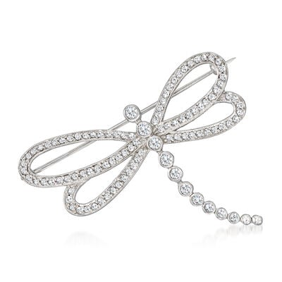 C. 1980 Vintage 1.80 ct. t.w. Diamond Dragonfly Pin in 18kt White Gold