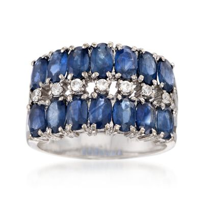 C. 1990 Vintage 3.50 ct. t.w. Sapphire and .15 ct. t.w. CZ Ring in 18kt White Gold