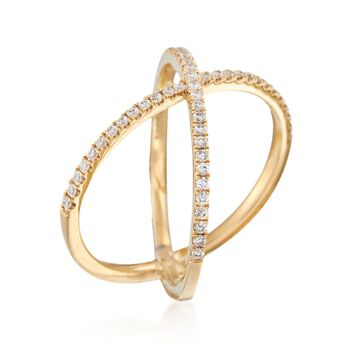 Henri Daussi .28 Carat Total Weight Diamond Crisscross Ring in 14-Karat Yellow Gold. Size 6