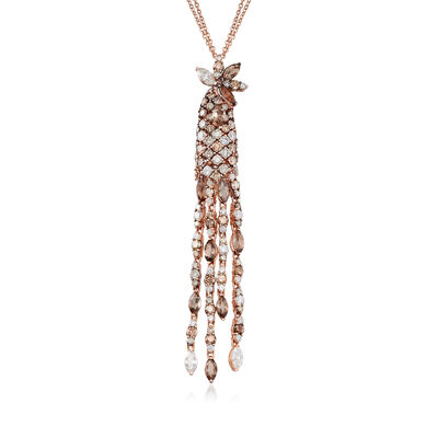 C. 1990 Vintage Stefan Hafner Diamond Drop Necklace in 18kt Rose Gold
