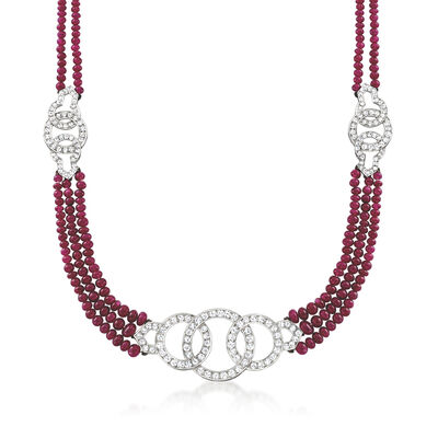 C. 1980 Vintage 32.00 ct. t.w. Ruby Bead and 2.75 ct. t.w. Diamond Circle Necklace in 18kt White Gold