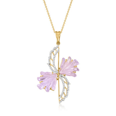 C. 1990 Vintage 11.50 ct. t.w. Ametrine and .34 ct. t.w. Diamond Wing Pendant Necklace in 14kt Yellow Gold