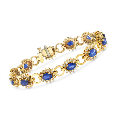 C. 1975 Vintage 6.70 ct. t.w. Sapphire and 1.80 ct. t.w. Diamond Bracelet in 14kt Yellow Gold