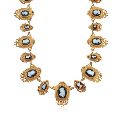 C. 1940 Vintage Agate Multi-Cameo Necklace in 18kt Yellow Gold