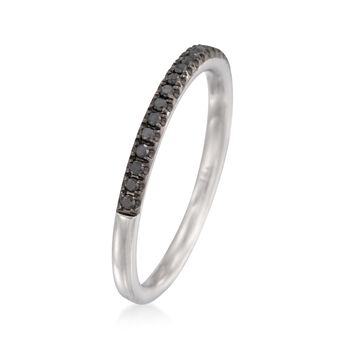 Henri Daussi .15 ct. t.w. Black Pave Diamond Wedding Ring in 18kt White Gold, , default