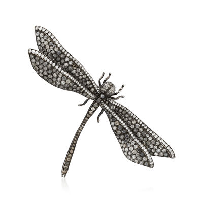 C. 1960 Vintage 8.00 ct. t.w. Diamond Dragonfly Pin in 14kt White Gold