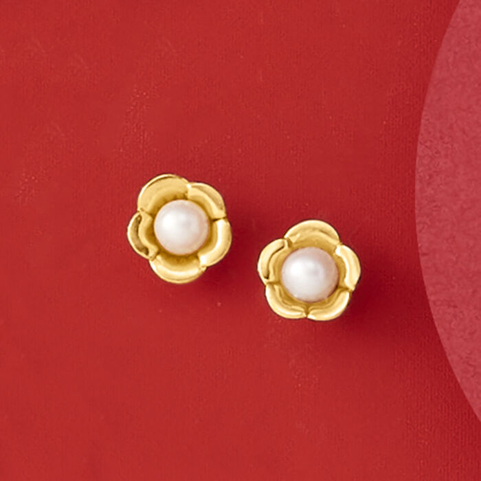 Child's 2-2.5mm Cultured Pearl Flower Stud Earrings in 14kt Yellow Gold