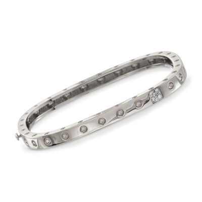 "Roberto Coin ""Pois-Moi"" 18kt White Gold Square Bangle Bracelet with Diamond Accents, , default"