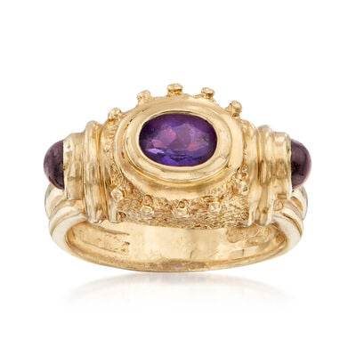 C. 1990 Vintage .50 Carat Oval Amethyst and .40 ct. t.w. Garnet Ring in 14kt Yellow Gold