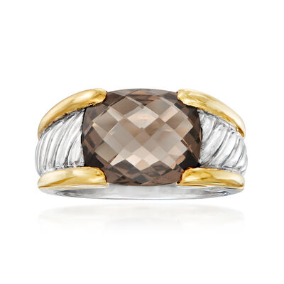 C. 1990 Vintage David Yurman 4.30 Carat Smoky Quartz Ring in Sterling Silver and 18kt Yellow Gold, , default