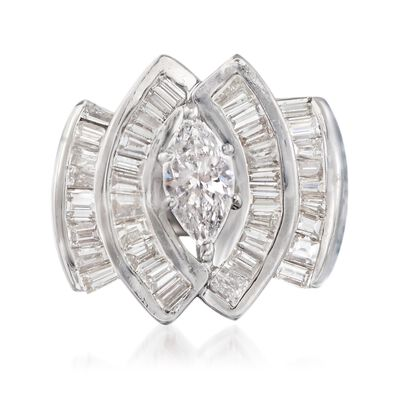 C. 1970 Vintage 2.75 ct. t.w. Diamond Ring in 14kt White Gold, , default