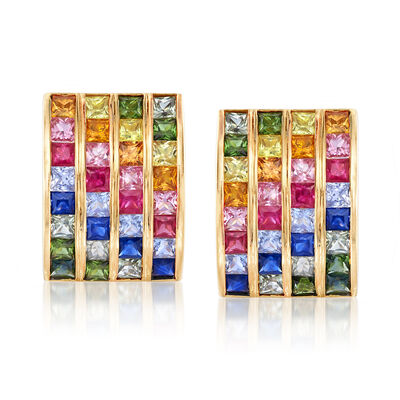 C. 1990 Vintage Multicolored 8.40 ct. t.w. Sapphire and 1.20 ct. t.w. Ruby Earrings in 18kt Yellow Gold, , default