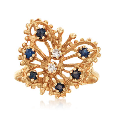C. 1980 Vintage .30 ct. t.w. Sapphire Openwork Butterfly Ring with Diamond Accents in 14kt Yellow Gold, , default
