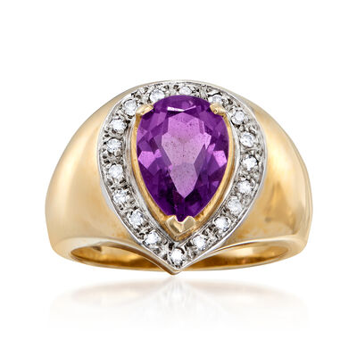 C. 1980 Vintage 1.55 Carat Amethyst and .15 ct. t.w. Diamond Ring in 14kt Yellow Gold