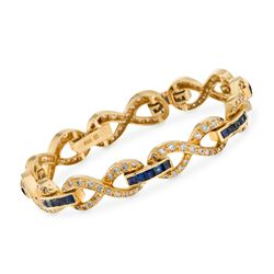 C. 1990 Vintage 3.50 ct. t.w. Sapphire and 2.50 ct. t.w. Diamond Infinity Bracelet in 14kt Yellow Gold, , default