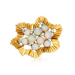 C.1990 Vintage Opal and .35 ct. t.w. Diamond Pin in 18kt Yellow Gold, , default