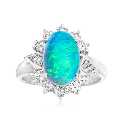 C. 1980 Vintage Black Opal and .89 ct. t.w. Diamond Ring in Platinum