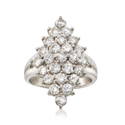 C. 1980 Vintage 2.12 ct. t.w. Diamond Cluster Ring in Platinum, , default