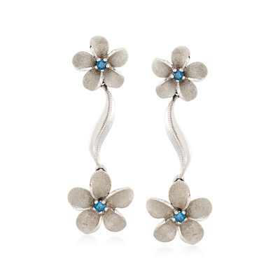 C. 2000 Vintage .20 ct. t.w. Blue Diamond Floral Earrings in 14kt White Gold, , default