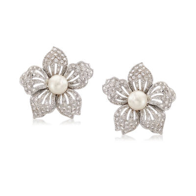 C. 1980 Vintage 2.09 ct. t.w. Diamond and 7mm Pearl Floral Earrings in 18kt White Gold, , default