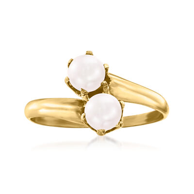 C. 1930 Vintage 5mm Cultured Pearl Bypass Ring in 14kt Yellow Gold