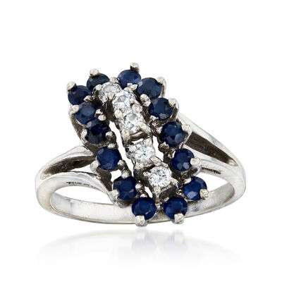 C. 1970 Vintage 1.00 ct. t.w. Sapphire and .25 ct. t.w. Diamond Cluster Ring in 14kt White Gold, , default