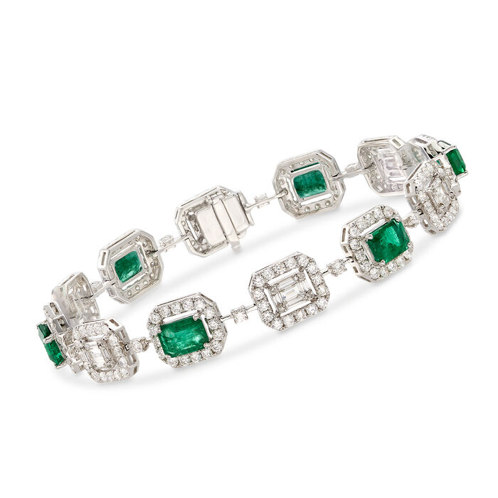 """4.70 ct. t.w. Emerald and 4.41 ct. t.w. Diamond Bracelet in 18kt White Gold. 7"""""""