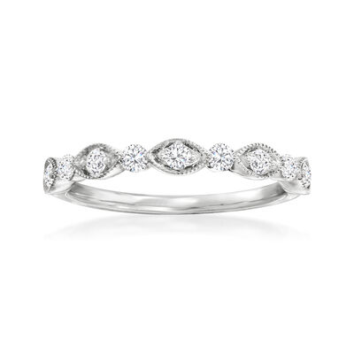 Henri Daussi .30 ct. t.w. Diamond Wedding Ring in 14kt White Gold