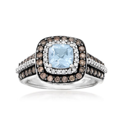 C. 2000 Vintage .80 Carat Aquamarine and 1.05 ct. t.w. Brown and White Diamond Ring in 14kt White Gold