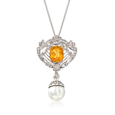 C. 2000 Vintage 2.45 Carat Citrine and 9.5mm Cultured Pearl Drop Necklace with .70 ct. t.w. Diamonds in 18kt White Gold