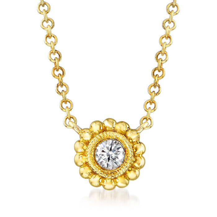 Gabriel Designs Beaded Frame Necklace with Diamond Accent in 14kt Yellow Gold