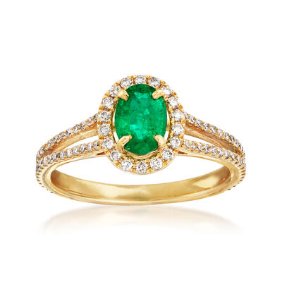 C. 1980 Vintage .65 Carat Emerald and .49 ct. t.w. Diamond Ring in 18kt Yellow Gold, , default