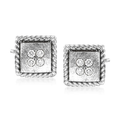 "Roberto Coin ""Palazzo Ducale"" Diamond-Accented 18kt White Gold Stud Earrings, , default"