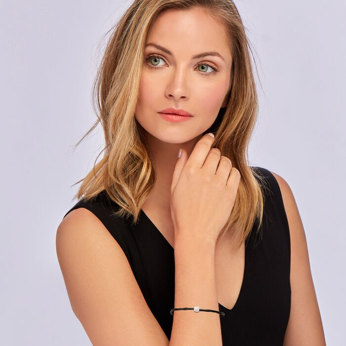 """ALOR """"Noir"""" Black Stainless Steel Adjustable Cable Bracelet with Diamond-Accented Station in 18kt White Gold"""