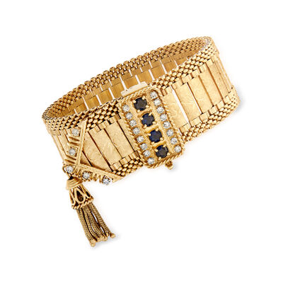 C. 1970 Vintage 2.00 ct. t.w. Sapphire and 1.60 ct. t.w. Diamond Tassel Bracelet in 14kt Yellow Gold, , default