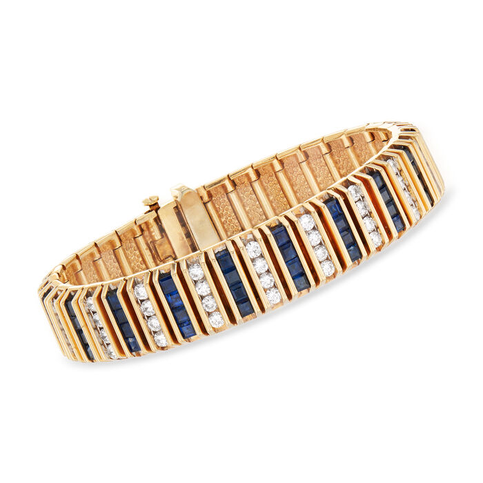 """C. 1960 Vintage 7.60 ct. t.w. Sapphire and 4.50 ct. t.w. Diamond Bracelet in 14kt Yellow Gold. 6.5"""", , default"""