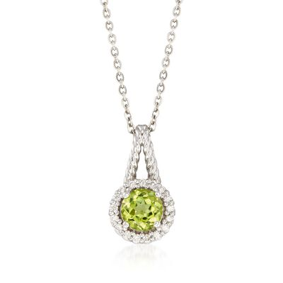 C. 2000 Vintage .90 Carat Peridot and .18 ct. t.w. Diamond Pendant Necklace in 14kt White Gold, , default
