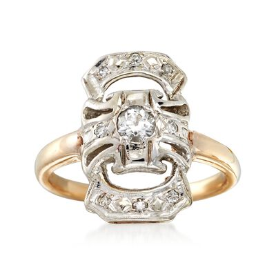 C. 1930 Vintage .28 ct. t.w. Diamond Dinner Ring in 14kt Yellow Gold, , default