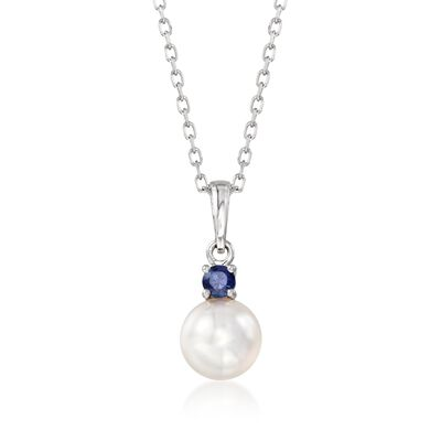 "Mikimoto ""Everyday Essentials"" 7.5-8mm A+ Akoya Pearl and .13 Carat Sapphire Pendant Necklace in 18kt White Gold"
