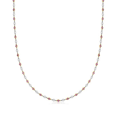C. 1990 Vintage 2.20 ct. t.w. Pink Sapphire and 1.60 ct. t.w. Diamond Station Necklace in Platinum and 14kt Yellow Gold