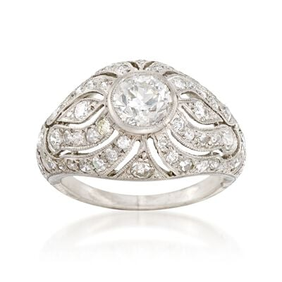 C. 1950 Vintage 1.65 ct. t.w. Diamond Dome Ring in Platinum, , default