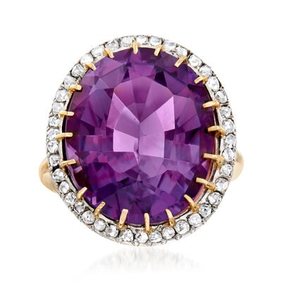 C. 1910 Vintage 16.00 Carat Amethyst and .50 ct. t.w. Diamond Cocktail Ring in Platinum and 12kt Yellow Gold