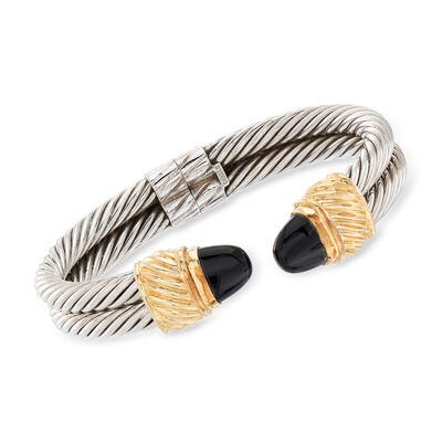 C. 1990 Vintage Black Onyx Cuff Bracelet in Sterling Silver and 14kt Yellow Gold, , default