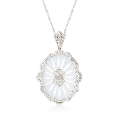 C. 1950 Vintage Carved Glass Pendant Necklace with Diamond Accent in 14kt White Gold