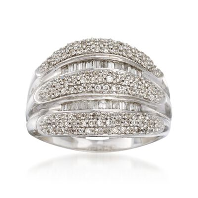 C. 1990 Vintage .85 ct. t.w. Diamond Multi-Row Ring in 14kt White Gold, , default